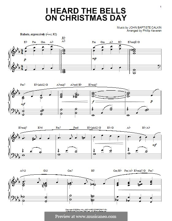 I Heard the Bells on Christmas Day by J.B. Calkin on MusicaNeo