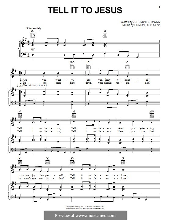 tell it to jesus by e s lorenz sheet music on musicaneo. Black Bedroom Furniture Sets. Home Design Ideas