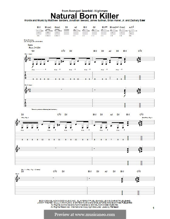 Guitar guitar tabs avenged sevenfold : Natural Born Killer (Avenged Sevenfold) by B. Haner Jr., J ...