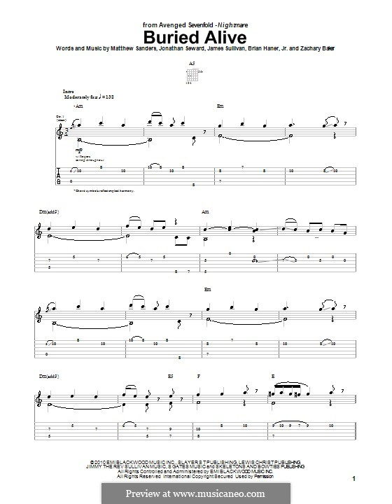 Guitar guitar tabs avenged sevenfold : Buried Alive (Avenged Sevenfold) by B. Haner Jr., J. Sullivan, J ...
