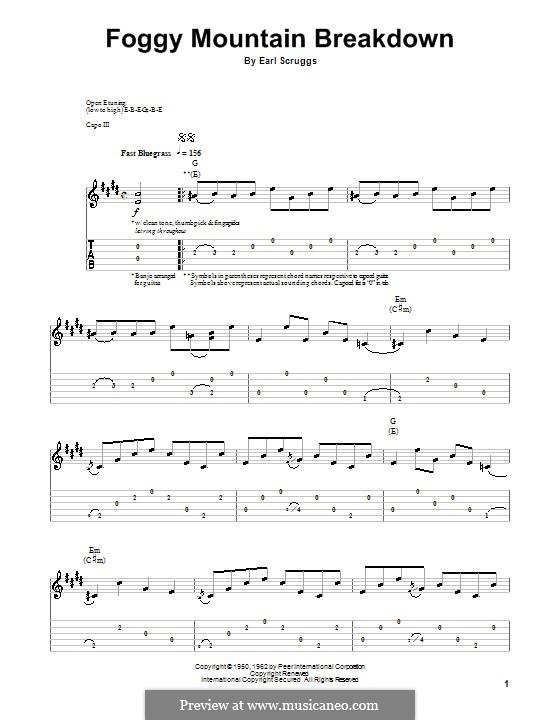 Foggy Mountain Breakdown by E. Scruggs - sheet music on MusicaNeo
