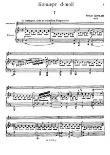 Concerto for Violin and Orchestra in D Minor, WoO 23: Arrangement for violin and piano by Robert Schumann