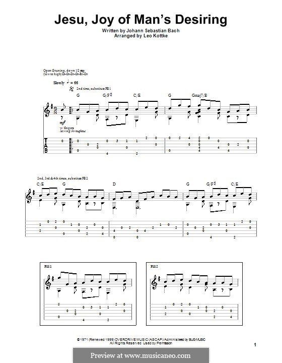 Jesu, Joy of Man's Desiring: For guitar with tab by Johann Sebastian Bach