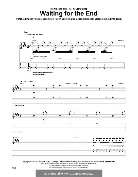 Waiting for the End (Linkin Park): For guitar with tab by Brad Delson, Charles Bennington, David Farrell, Joseph Hahn, Mike Shinoda, Rob Bourdon