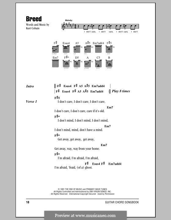 Breed (Nirvana) by K. Cobain - sheet music on MusicaNeo