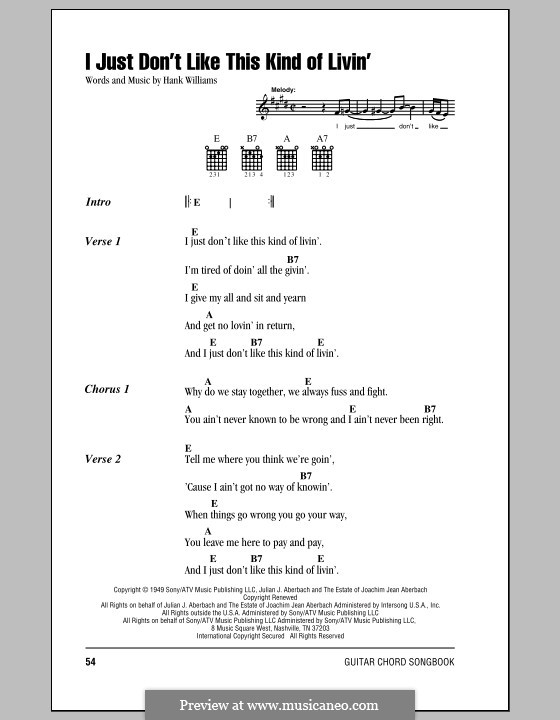 I Just Don't Like This Kind of Livin': Lyrics and chords (with chord boxes) by Hank Williams