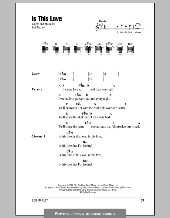 Is This Love: Lyrics and chords (with chord boxes) by Bob Marley