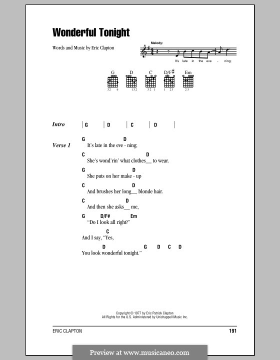 Wonderful Tonight: Lyrics and chords (with chord boxes) by Eric Clapton