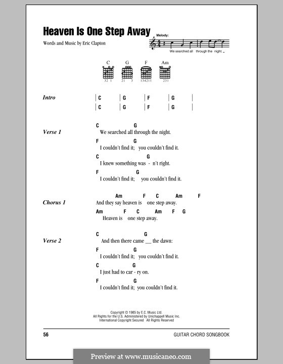 Heaven Is One Step Away: Lyrics and chords (with chord boxes) by Eric Clapton