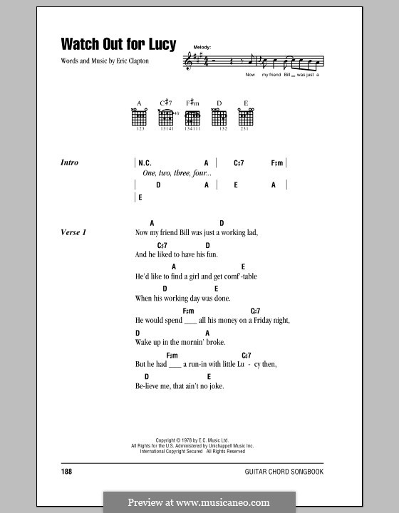 Watch Out for Lucy: Lyrics and chords (with chord boxes) by Eric Clapton