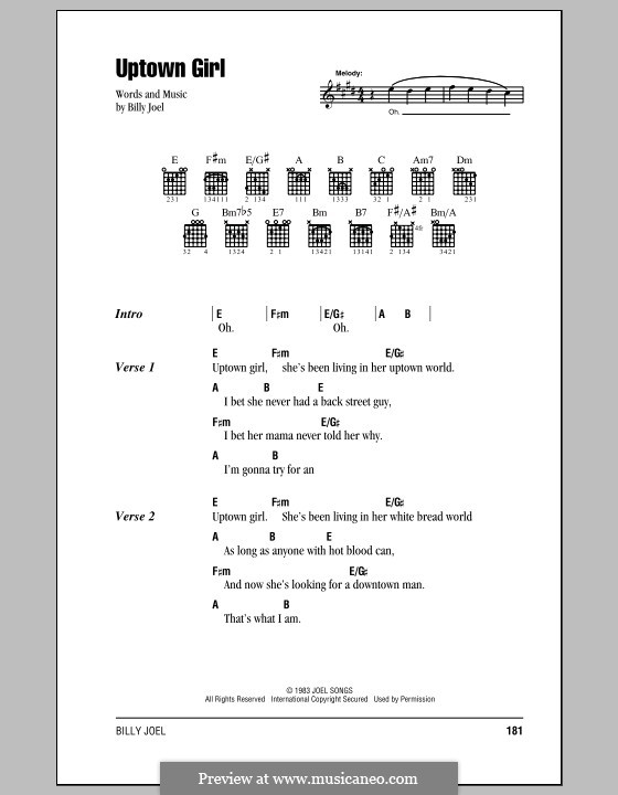Uptown Girl: Lyrics and chords (with chord boxes) by Billy Joel