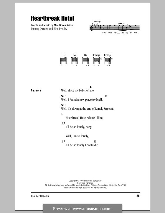Heartbreak Hotel (Elvis Presley): Lyrics and chords (with chord boxes) by Mae Boren Axton, Tommy Durden