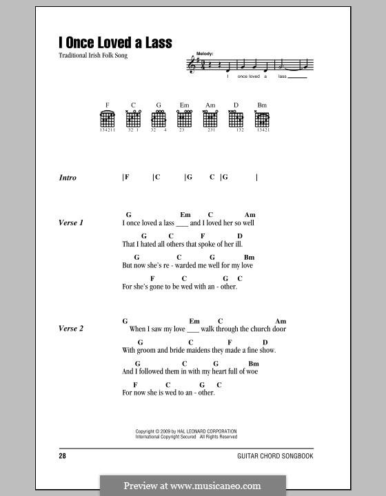 I Once Loved a Lass: Lyrics and chords (with chord boxes) by folklore