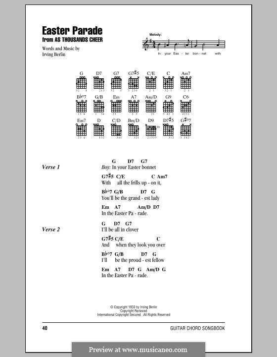 Easter Parade: Lyrics and chords (with chord boxes) by Irving Berlin