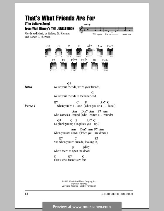 That's What Friends are for (The Vulture Song): Lyrics and chords (with chord boxes) by Richard M. Sherman, Robert B. Sherman