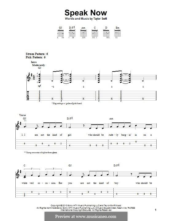 Ukulele u00bb Speak Now Ukulele Chords - Music Sheets, Tablature, Chords and Lyrics