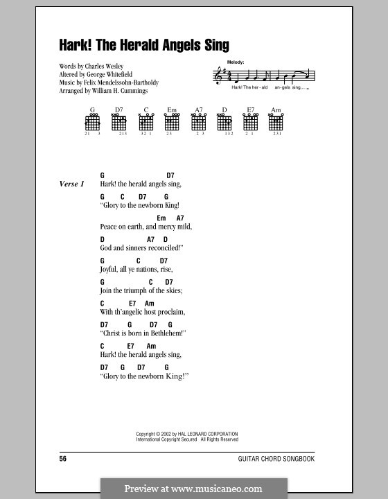 Hark! The Herald Angels Sing: Lyrics and chords (with chord boxes) by Felix Mendelssohn-Bartholdy