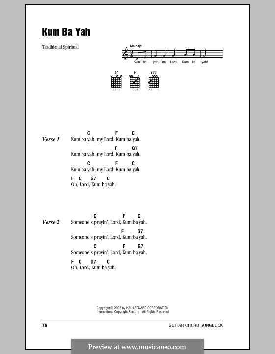 Kumbaya (Kum Ba Yah): Lyrics and chords (with chord boxes) by folklore
