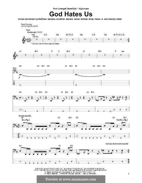 Guitar guitar tabs avenged sevenfold : God Hates Us (Avenged Sevenfold) by B. Haner Jr., J. Sullivan, J ...