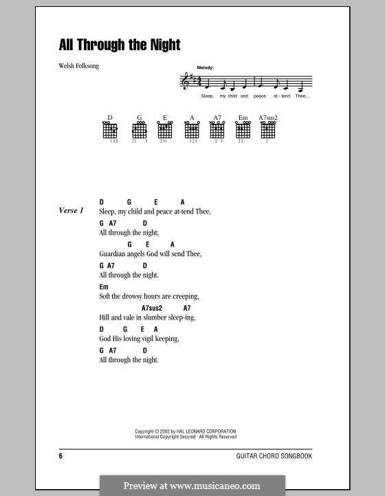 All Through the Night: Lyrics and chords (with chord boxes) by folklore