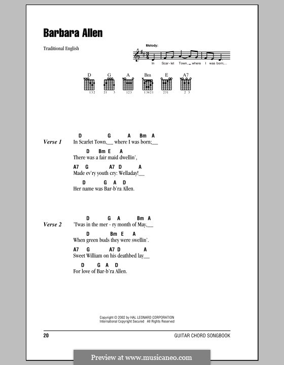 Barbara Allen: Lyrics and chords (with chord boxes) by folklore
