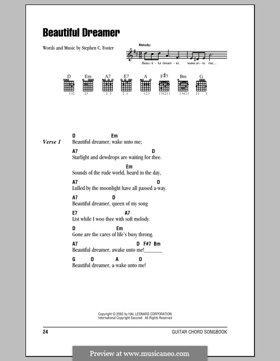 Beautiful Dreamer: Lyrics and chords (with chord boxes) by Stephen Collins Foster