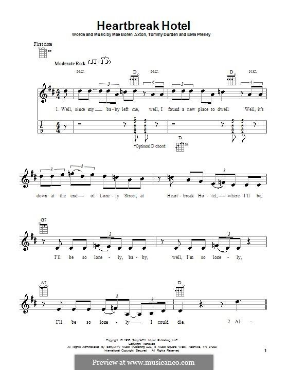 Heartbreak Hotel (Elvis Presley): For ukulele by Mae Boren Axton, Tommy Durden