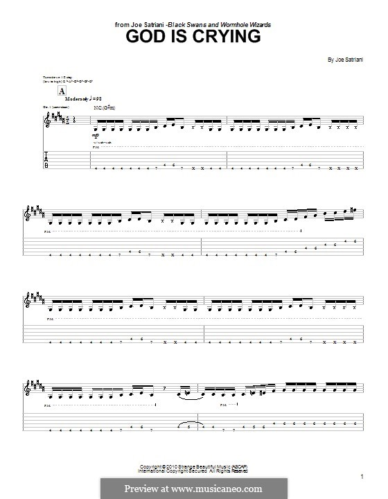 God Is Crying: For guitar with tab by Joe Satriani