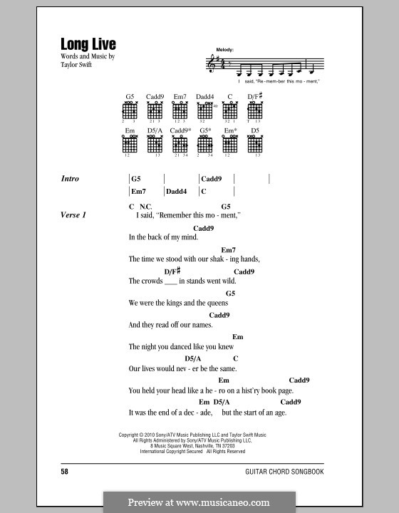 Taylor swift ours guitar chords