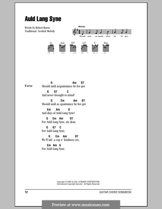 Auld Lang Syne: Lyrics and chords by folklore