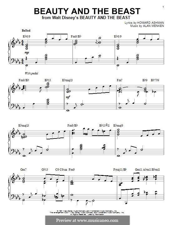 Beauty and the Beast (Celine Dion and Peabo Bryson): For piano (E Flat Major) by Alan Menken