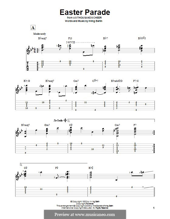 Easter Parade: For guitar with tab by Irving Berlin