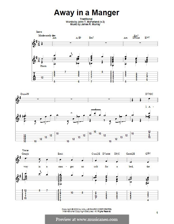 Away in a Manger: For guitar with tab by James R. Murray