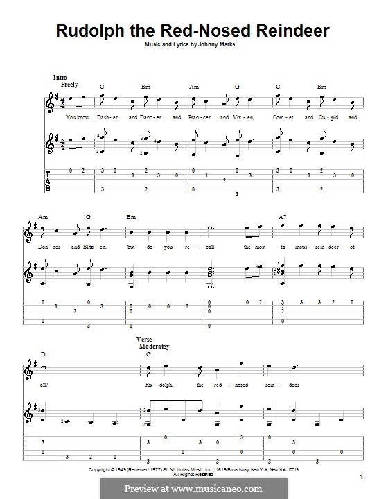 Rudolph the Red-Nosed Reindeer by J. Marks - sheet music on MusicaNeo