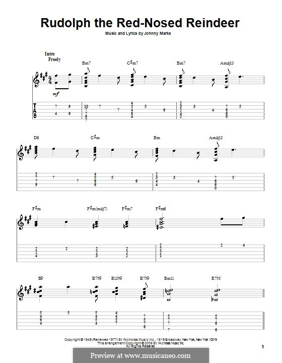 Guitar : guitar tablature rudolph red nosed reindeer Guitar Tablature or Guitar Tablature ...