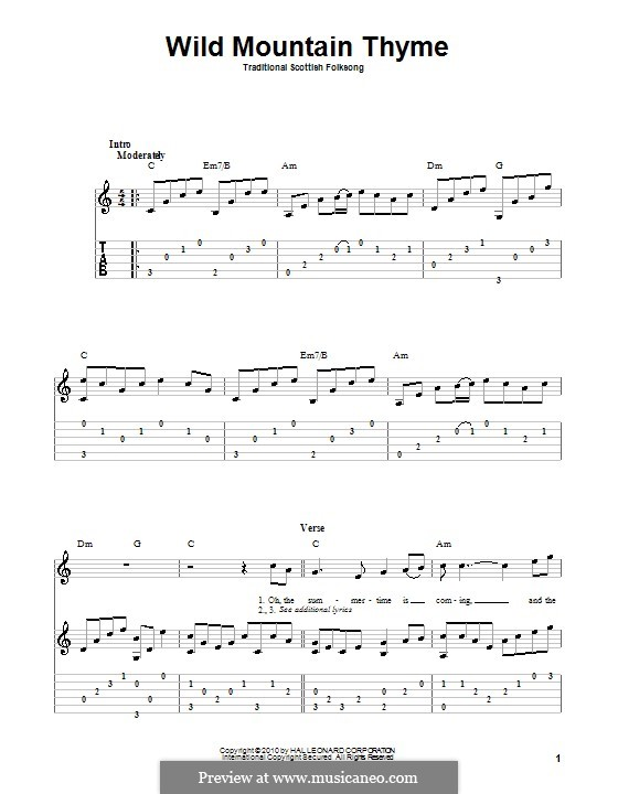 Wild Mountain Thyme: For guitar with tab by folklore