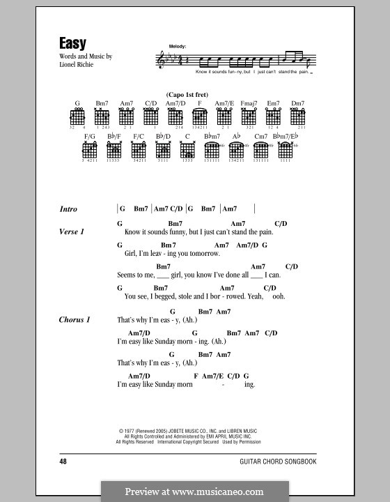 easy lionel richie sheet music pdf