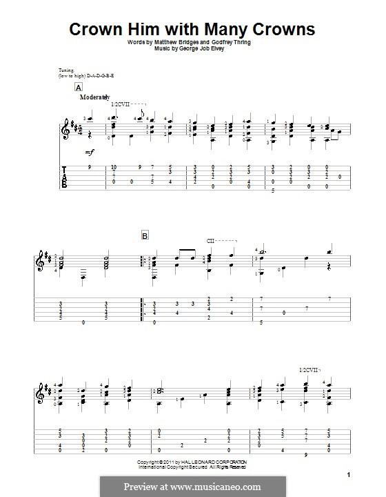 Crown Him with Many Crowns: For guitar with tab by George Job Elvey