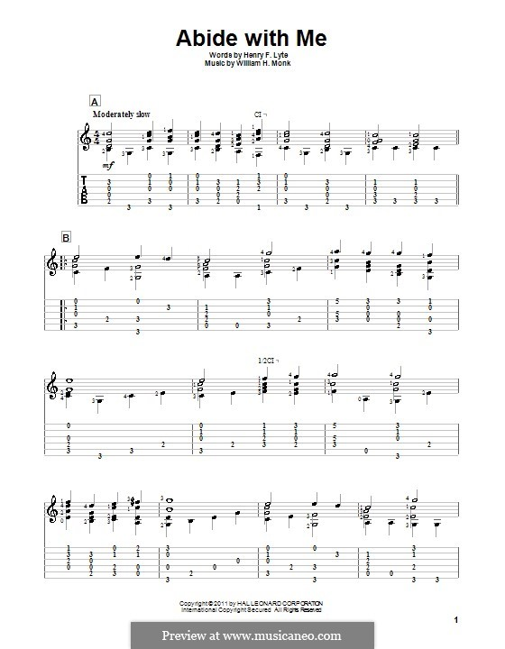Abide with Me: For guitar by William Henry Monk