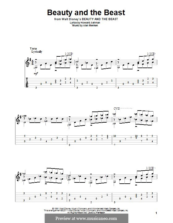 Beauty and the Beast (Celine Dion and Peabo Bryson): For guitar by Alan Menken