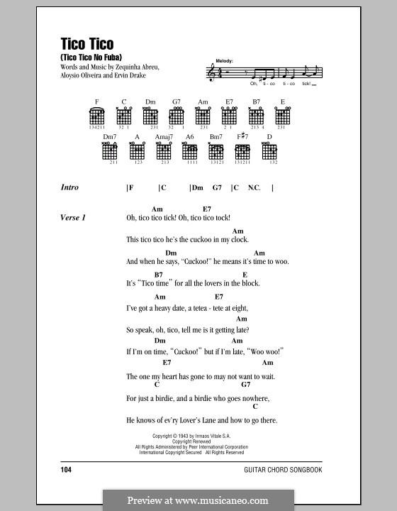 Tico-Tico no fubá: Lyrics and chords by Zequinha de Abreu