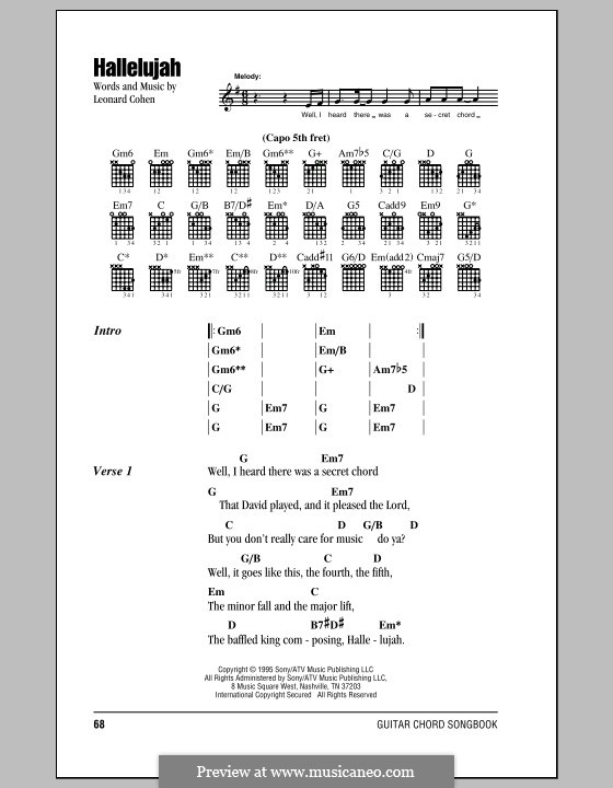 Hallelujah: Lyrics and chords by Leonard Cohen