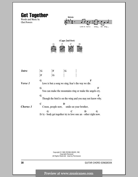 Let s get together the youngbloods lyrics and chords by chet powers