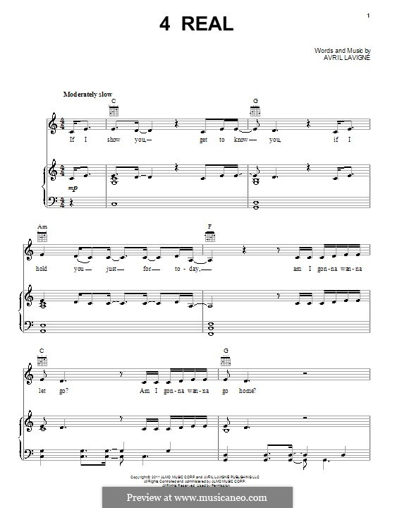 4 Real: For voice and piano (or guitar) by Avril Lavigne