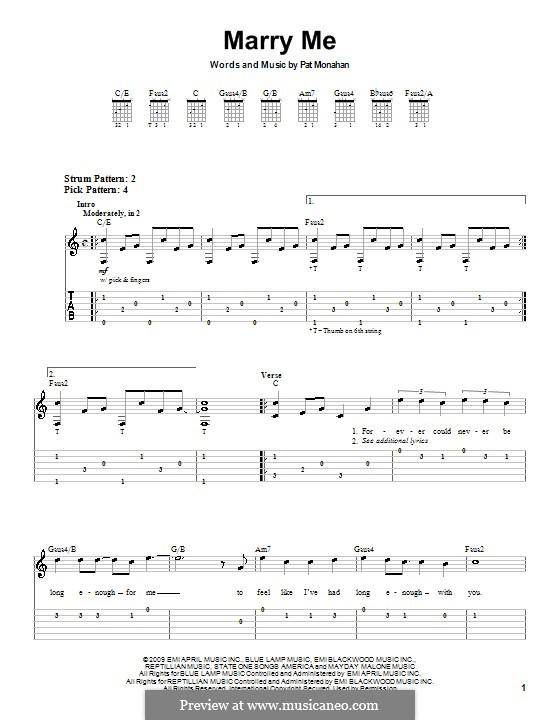 Marry Me Train Piano Sheet Music