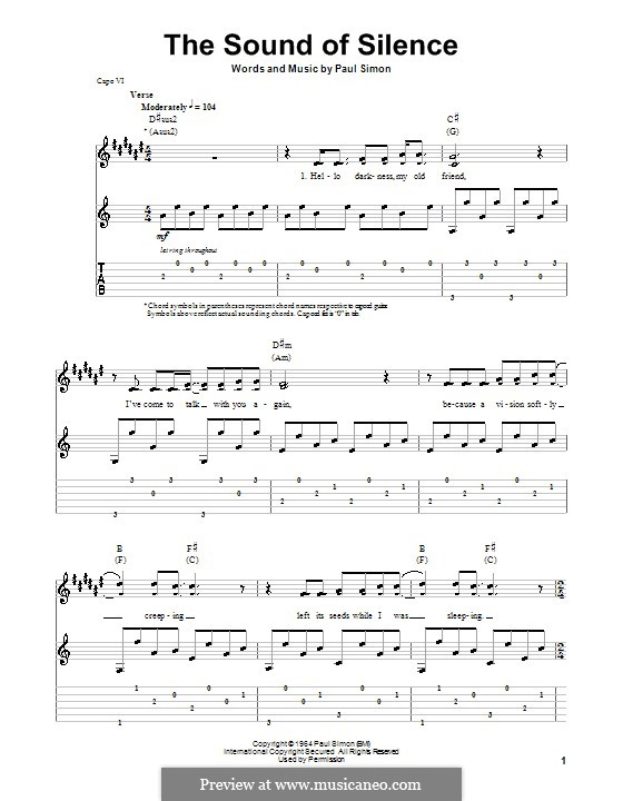 The Sound of Silence (Simon & Garfunkel): For guitar with tab by Paul Simon