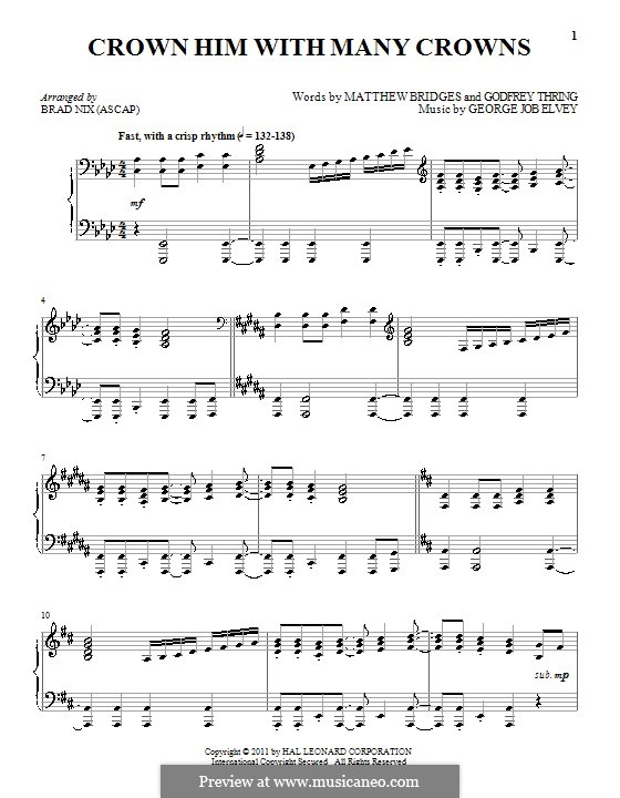 Crown Him with Many Crowns: For piano by George Job Elvey