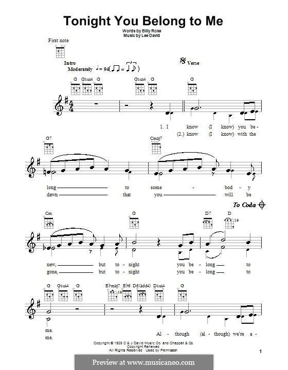 Ukulele u00bb Ukulele Tabs Tonight You Belong To Me - Music Sheets, Tablature, Chords and Lyrics