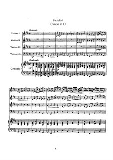 Canon in D Major: For strings and basso continuo by Johann Pachelbel