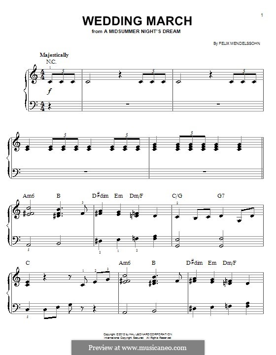 Wedding March: For easy piano (with chords) by Felix Mendelssohn-Bartholdy